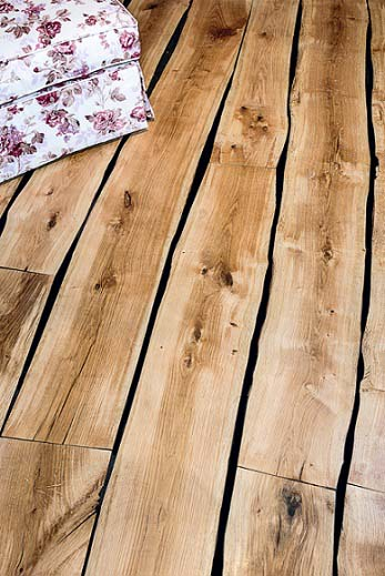 Live edge oak parquet flooring