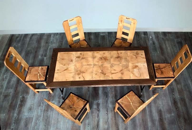 tavolo e sedie in legno artigianale di quercia toscana con base in ferro